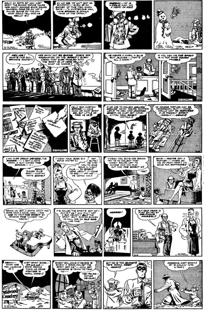 Dagsstrippar med The Spirit från 8-13 december 1941. ©Register&Tribune