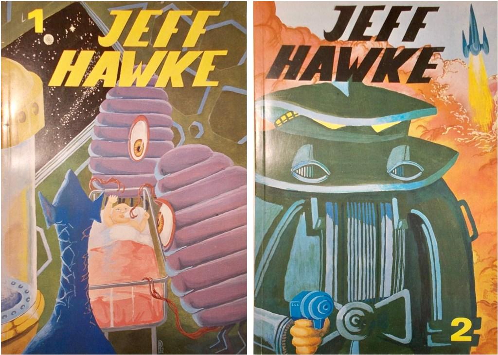 Två seriealbum med Jeff Hawke (1982). ©Alvglans