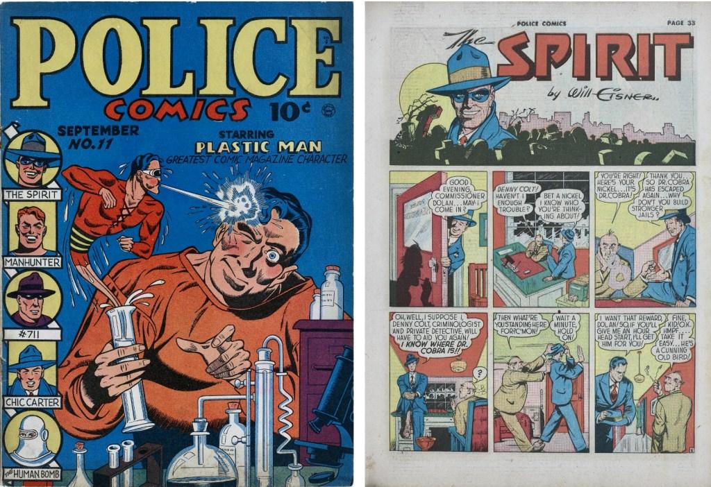 Omslag till Police Comics #11 (sept. 1942) och inledande sida premiärepisoden med The Spirit från 2 juni 1940. ©Quality/Register&Tribune