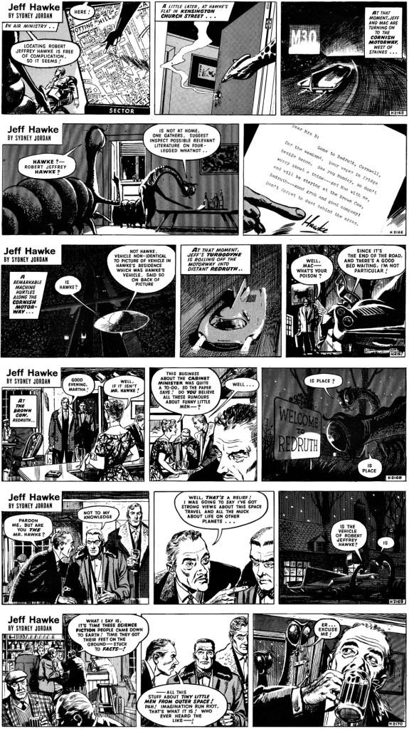 Inledningen av den 17:e episoden, Counsel for the Defense, av Willie Patterson och Sydney Jordan, stripparna 2164-2170, från 13-18 mars 1961. ©Daily Express