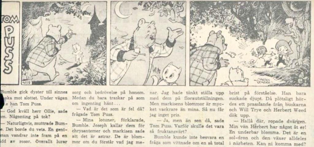 Dagsstripp nr 4119, från det 91:a äventyret, där Pastinakel förekommer för första gången. Strippen var publicerad på svenska i DN 6 maj 1961. ©STA