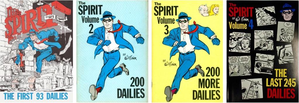 Omslag till de fyra utgåvorna The Spirit Dailies. ©Ken Pierce