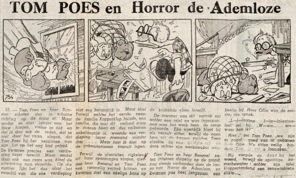 Dagsstripp nr 754, ur episoden Tom Poes en Horror de Ademloze, ett äventyr som inte blivit publicerat på svenska. ©STA