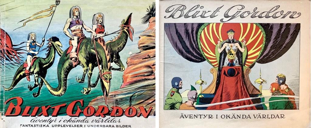 Omslag och förstasida ur julabumet Blixt Gordon, äventyr i okända världar (1943). ©Å&Å