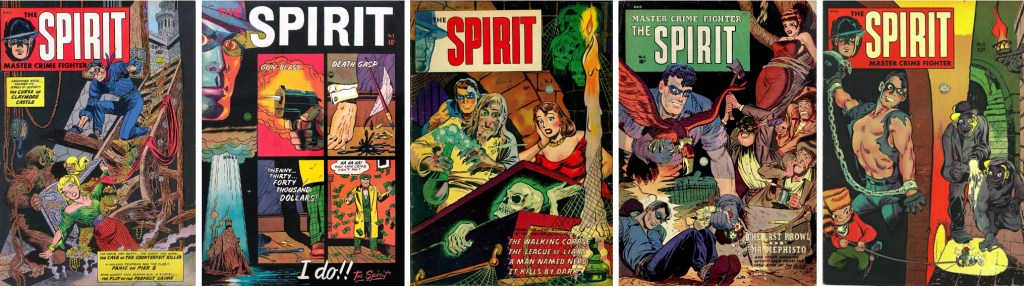 Omslag till The Spirit #1-5 (1952-54). ©Fiction House