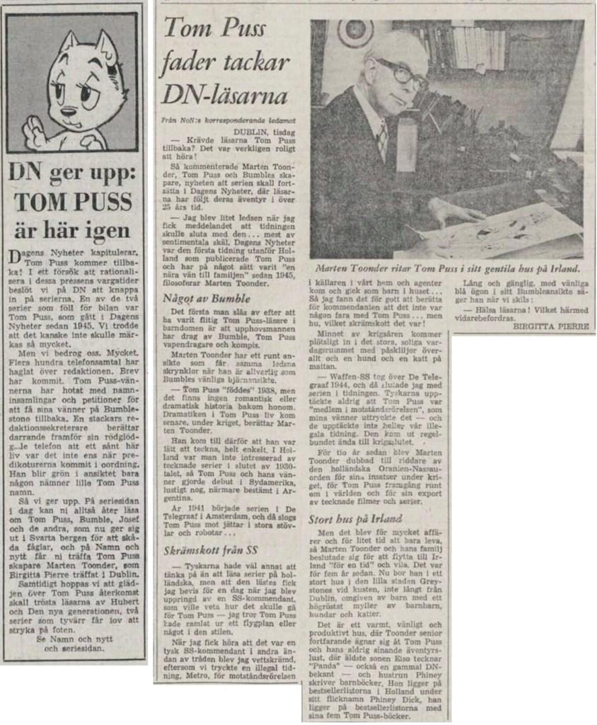 DN:s ursäkt på förstasidan, och artikel om Tom Puss och Marten Toonder på Namn & Nytt-sidan, från 24 mars 1971. ©DN