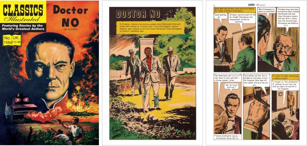 Omslag, förstasida och en sida ur inlagan till brittiska Classics Illustrated #158A. ©Thorpe&Porter