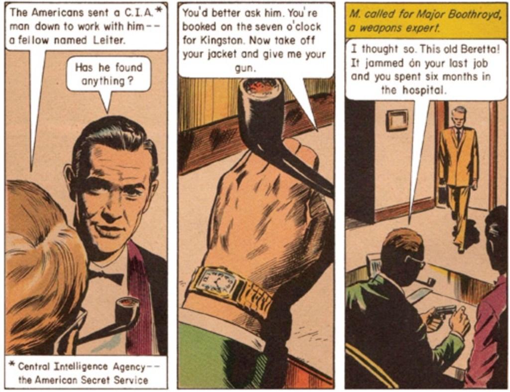 Några serierutaor ur brittiska Classics Illustrated #158A, Doctor No med James Bond av Ian Fleming. ©Thorpe&Porter