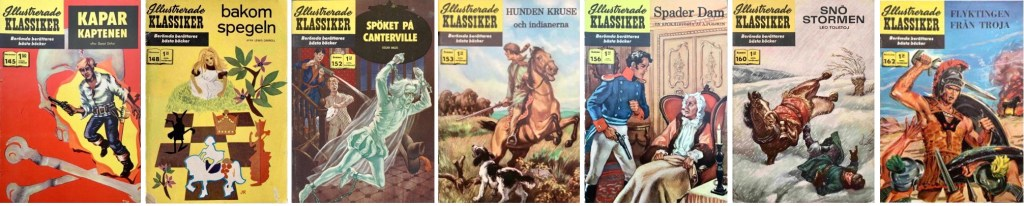 Några Illustrerade klassiker som varit utgivna som brittiska Classic Illustrated, men inte amerikanska. ©Illustrerade klassiker