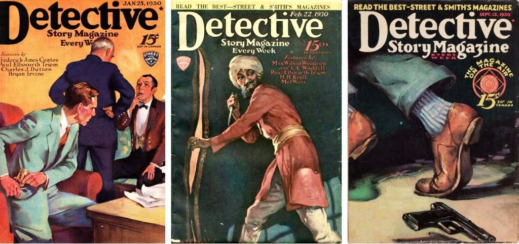 Omslag till några nummer av Detective Story Magazine (1930). ©Street&Smith