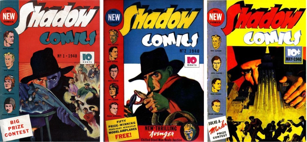 Omslag till de tre första numren av The Shadow (Gäckande Skuggan). ©Street&Smith
