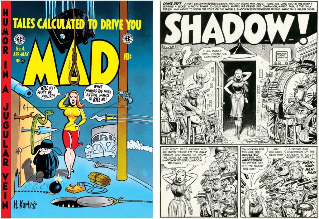 Omslag till Mad #4 (1953) och original till i ledande sida med Shadow. ©EC Comics