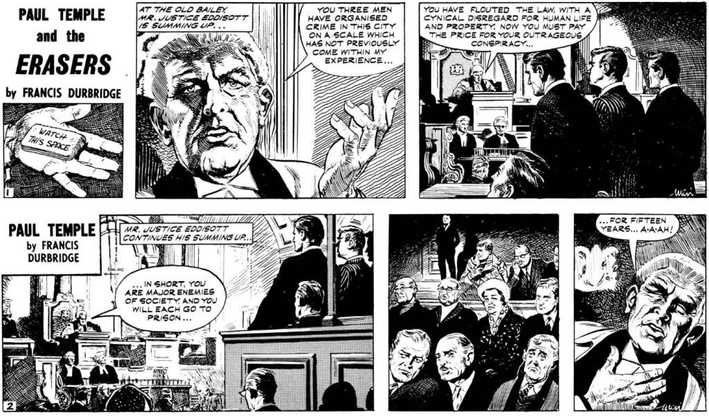 Två inledande dagsstrippar ur episoden Paul Temple and the Erasers, från 22-23 november 1966. ©Evening News