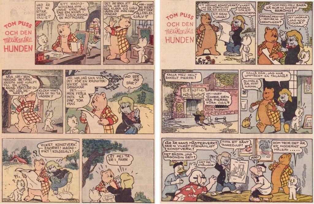 Inledningen till fjortonde episoden med Tom Puss i söndags-DN, från 23 och 30 januari 1955. ©STA