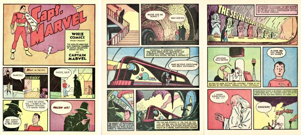 Inledande sidor till den första episoden med Captain Marvel ur Whiz Comics #2 (1940). ©Fawcett