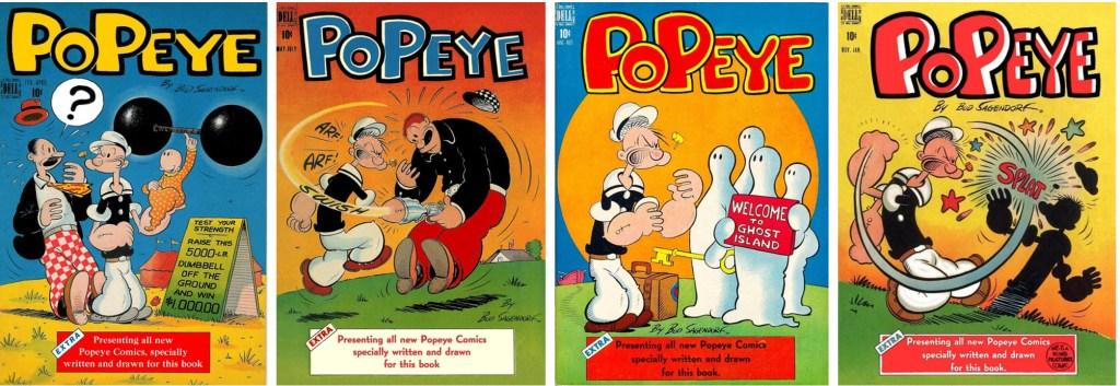 De första 4 numren av serietidningen Popeye (1948). ©Dell