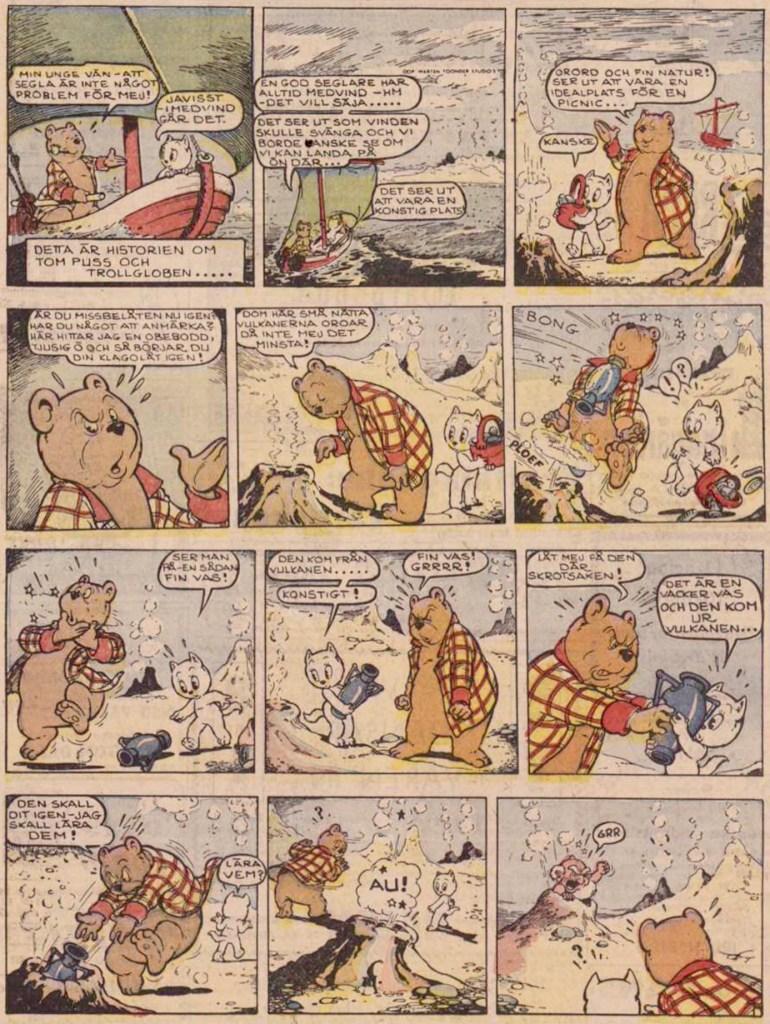 Inledande söndagssida ur femtonde episoden, från 17 april 1955. ©STA