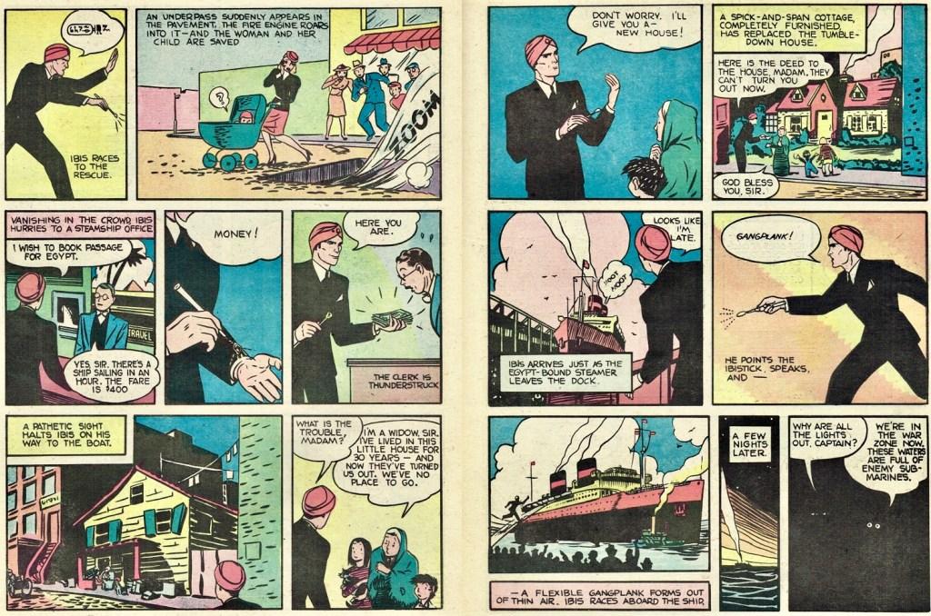 Ett uppslag ur den första episoden med Ibis the Invincible ur Whiz Comics #2 (1940). ©Fawcett