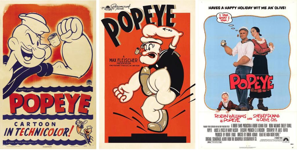 Några filmaffischer med Popeye. ©Paramount