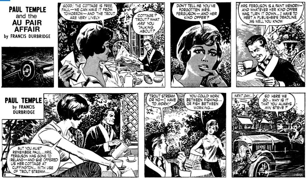 Två inledande dagsstrippar ur episoden Paul Temple and the Au Pair Affair, från 24-25 augusti 1965. ©Evening News