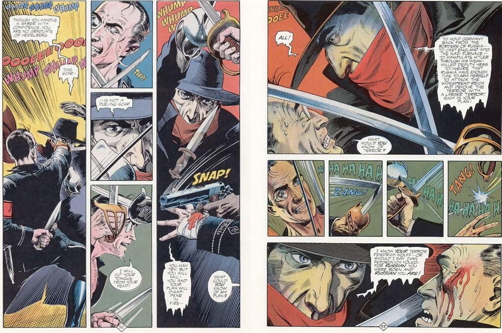 Ett uppslag med The Shadow av Dennis O'Neil (manus) och av Mike Kaluta (teckningar). ©DC