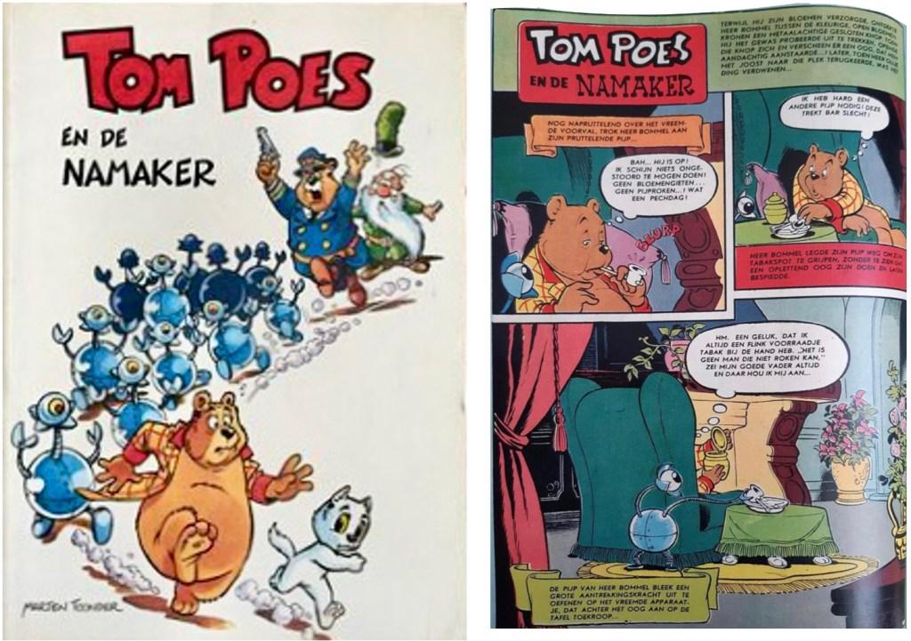 Omslag och en sida ur inlagan i original ur den 83:a episoden Tom Poes en de grifgulders, från 1961, ur utgåvor från 1975 resp. 2003. ©STA