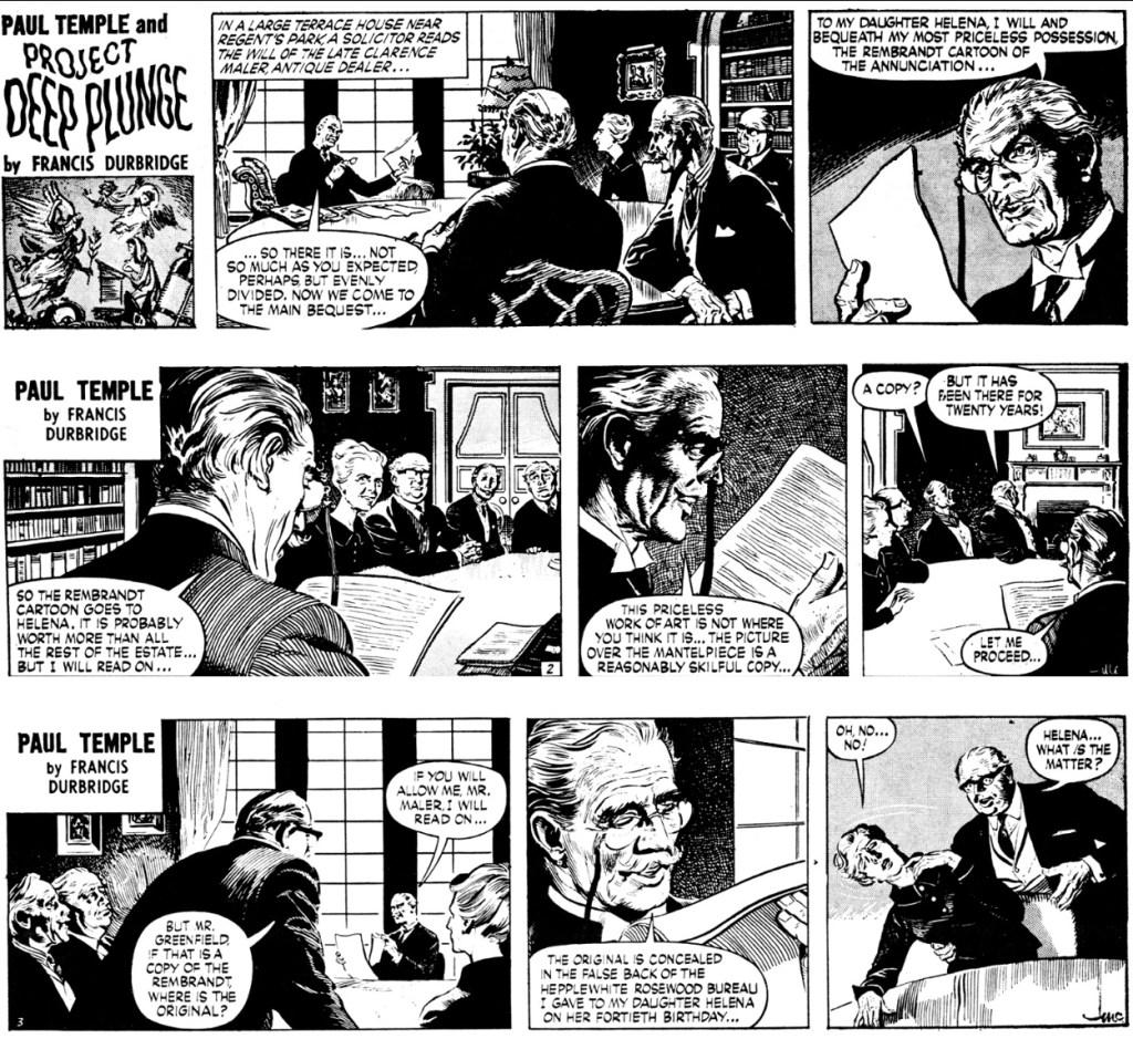 Inledande dagsstrippar ur episoden Project Deep Plunge från 2-4 december 1965. ©Evening News