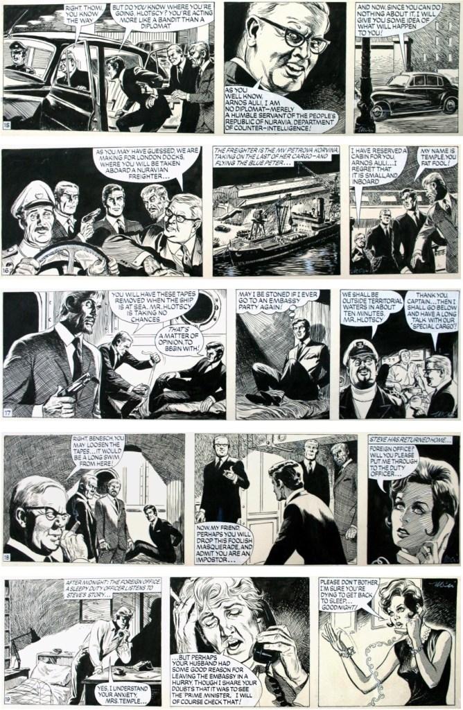 Original till fler dagsstrippar med Paul Temple tecknad av John McNamara. ©Evening News