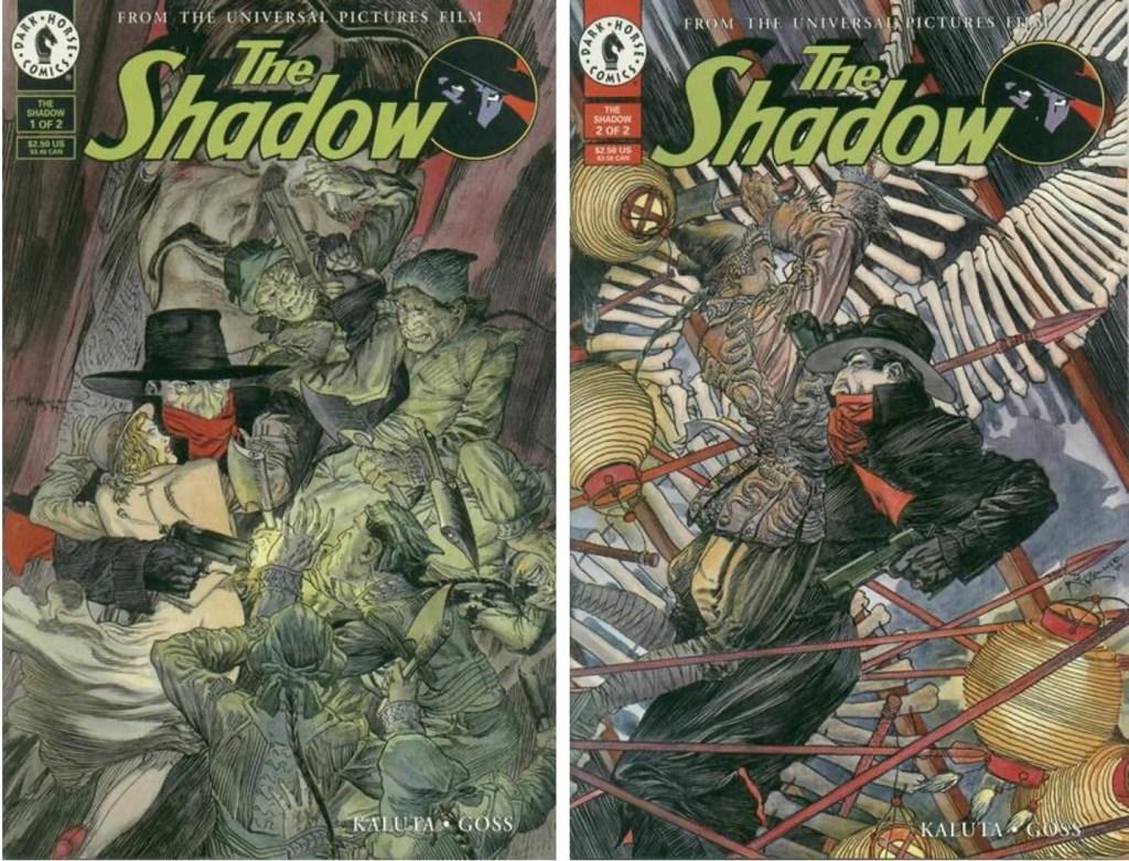 Det utkom två nummer av The Shadow (1994), med serier av Joel Goss (manus) och Mike Kaluta (teckningar). ©Dark Horse