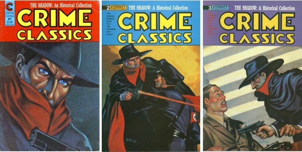Omslag till de tre första numren av Crime Classics (1988-89). ©Malibu
