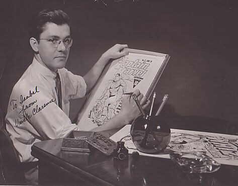 Serietecknaren C. C. Beck vid ritbordet.
