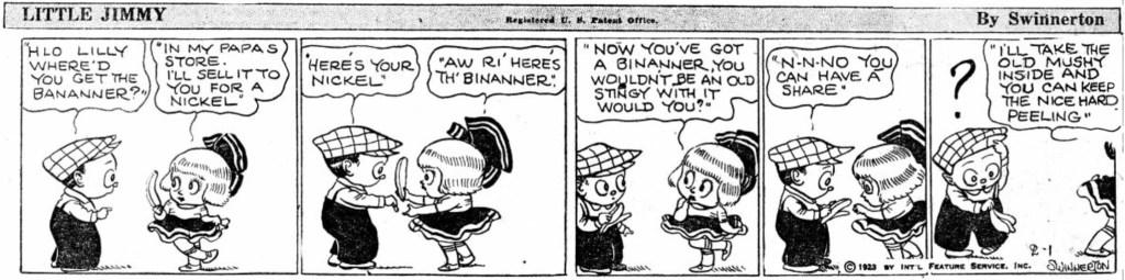 En dagsstripp med Little Jimmy, från 1 februari 1923.