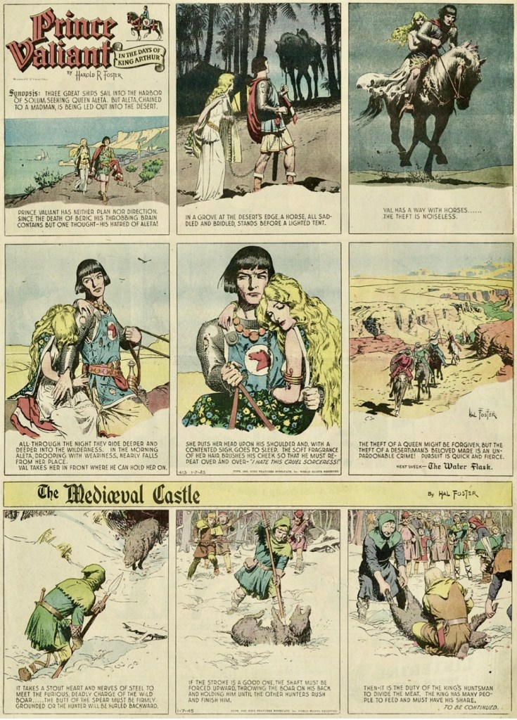 1944-45 krympte Prince Valiant till 2/3 helsida, här från 7 januari 1945.  Att erbjuda tidningarna utfyllnadsserien The Mediæval Castle var ett sätt för syndikatet att ändå behålla utrymmet. ©KFS