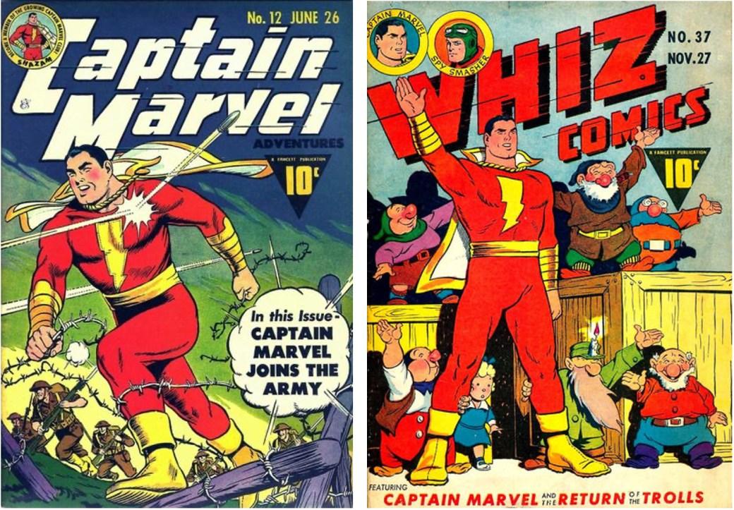Omslag till Captain Marvel Adventures #12 (juni 1942) och Whiz Comics #37 (November 1942). ©Fawcett