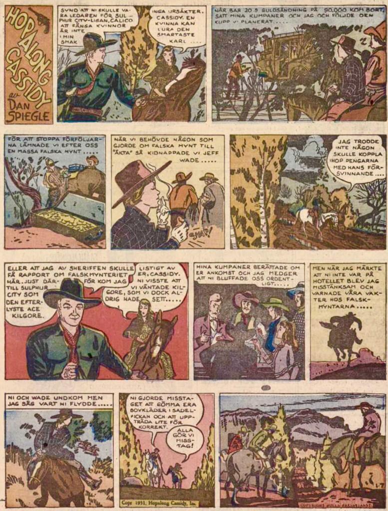 Första söndagssidan publicerad i DN, den 18 mars 1951, ursprungligen från 7 januari 1951. ©Bulls