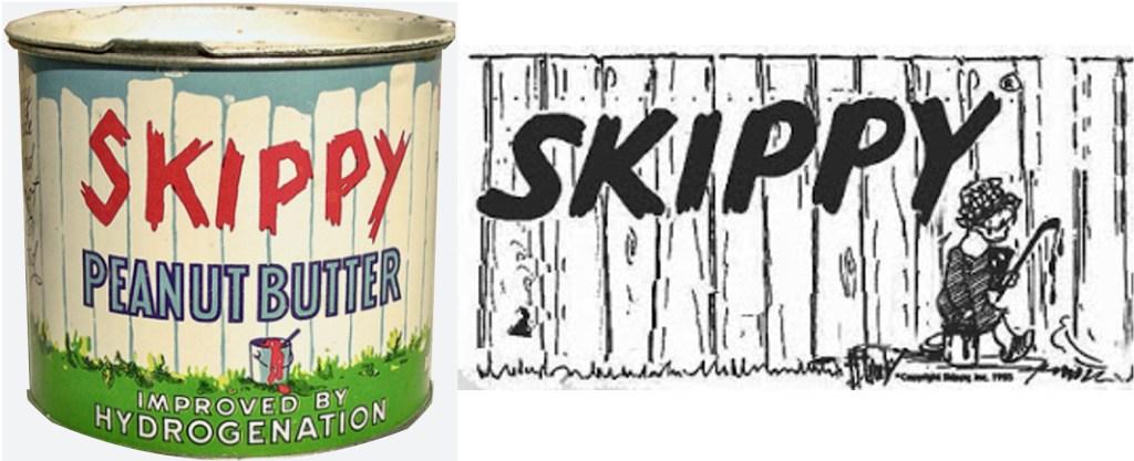 Varumärket Skippy för jordnötssmör var en uppenbar kopia av Skippy-logotypen på staketet i den tecknade serien.
