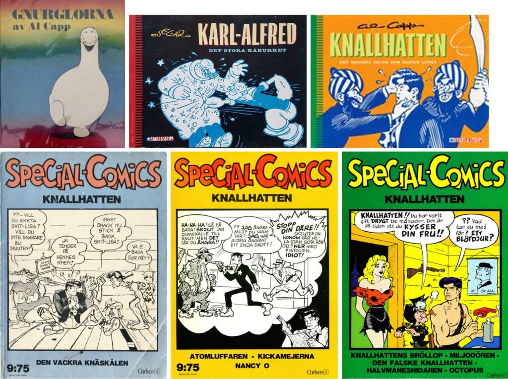 Omslag till Gnurglorna (1949), Stars & Strips (1992 och 1996), och Special-Comics nr 1, 4 och 9 (1974-76). ©Å&Å/Epix/Carlsen