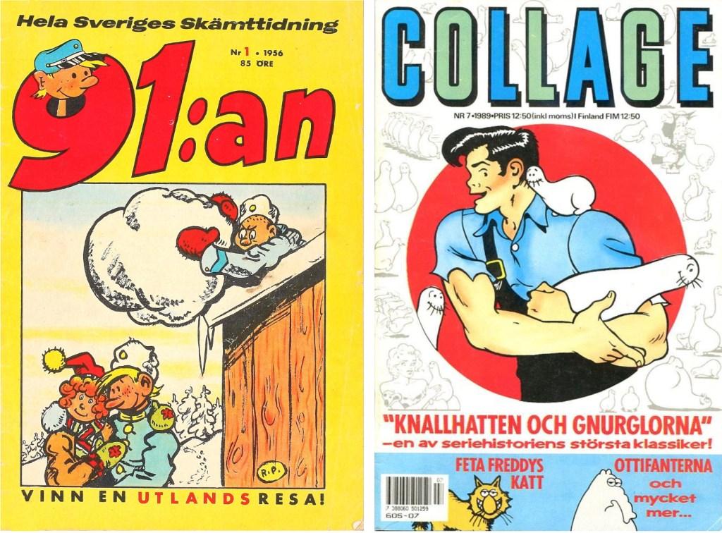 Omslag till 91:an nr 1, 1956 och Collage nr 7, 1989. ©Å&Å/Semic