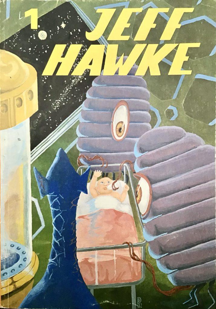 Omslag till det första seriealbumet med Jeff Hawke (1982). ©Alvglans