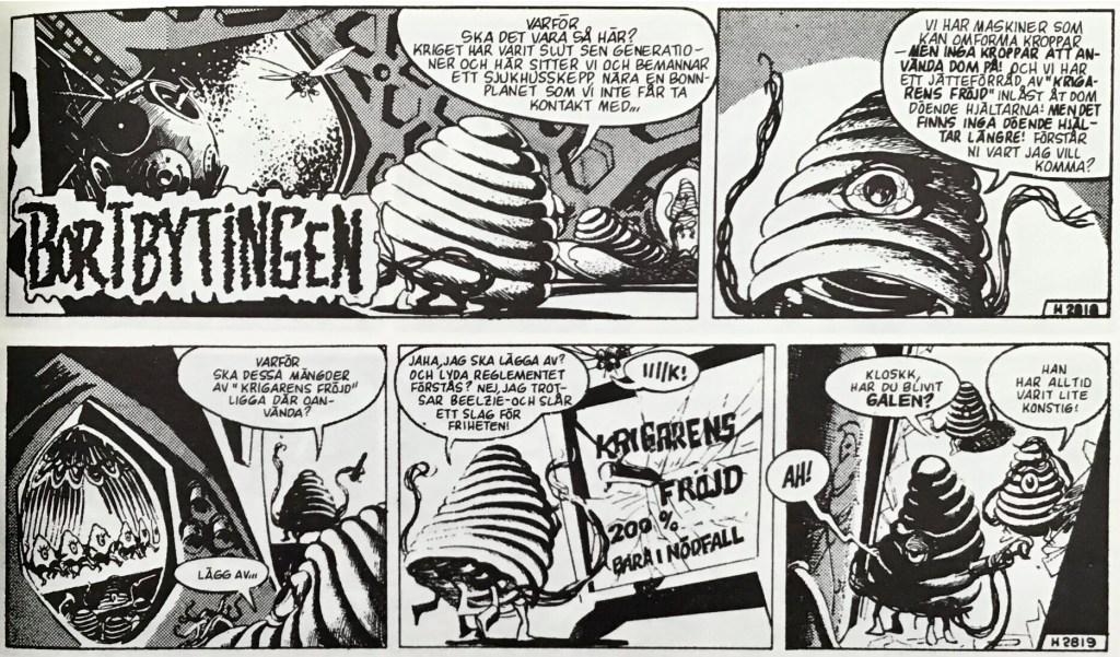 De inledande stripparna 2818-19 (från 22-23 april 1963) ur episoden Bortbytingen. ©Bulls