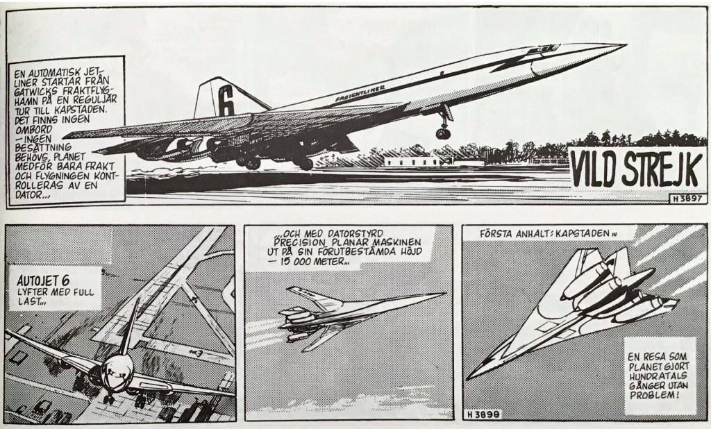 De inledande stripparna 3897-98 (från 14-15 oktober 1966) ur episoden Vild strejk. ©Bulls