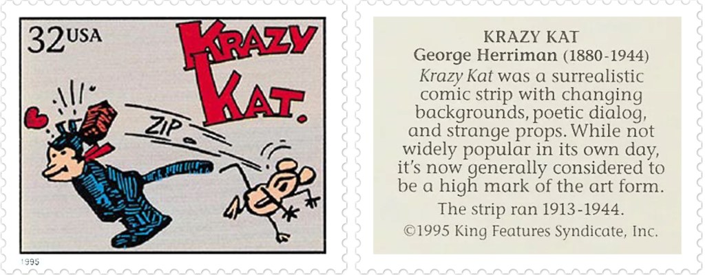 Frimärket med Krazy Kat av George Herriman (1880-1944). ©KFS