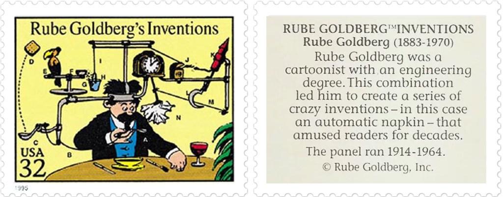 Comic Strip Classics-frimärket med Rube Goldberg's Inventions av Rube Goldberg  (1883-1970). ©Goldberg
