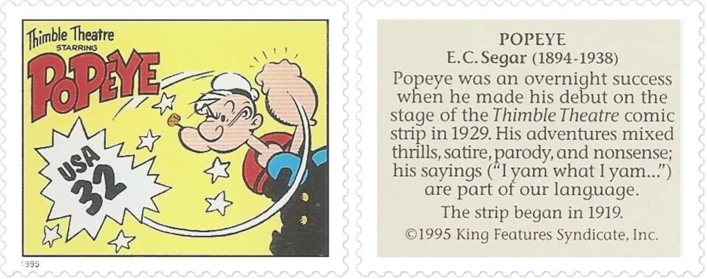 Frimärket med Thimble Theatre Starring Popeye av E. C. Segar (1894-1938). ©KFS