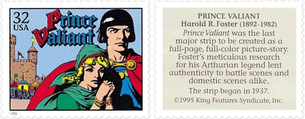 Frimärket med Prince Valiant av Harold R. Foster (1892-1982). ©KFS