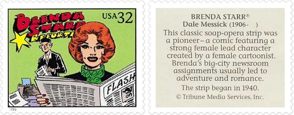 Comic Strip Classics-Frimärket med Brenda Starr av Dale Messick (1906-2005). ©TMS