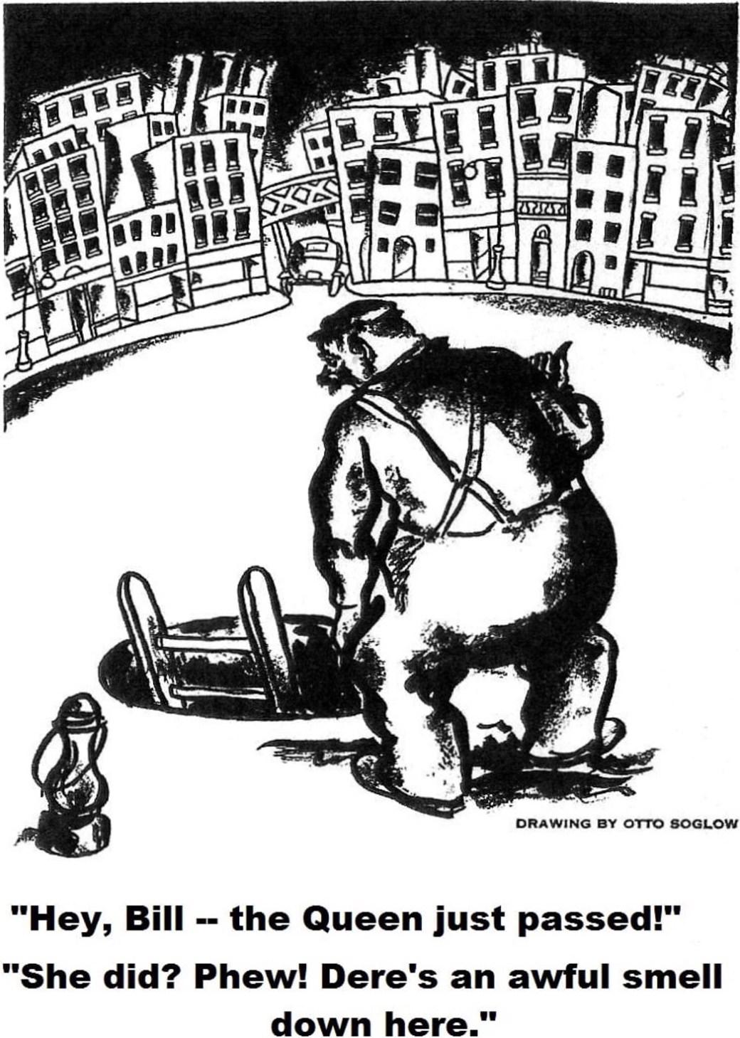 """Soglow fick från 1922 teckningar publicerade i The Liberator, och i The New Masses 1926-28. Teckningen här intill var en tydlig föregångare till de så kallade """"manhole""""-teckningarna som skulle komma senare i The New Yorker."""