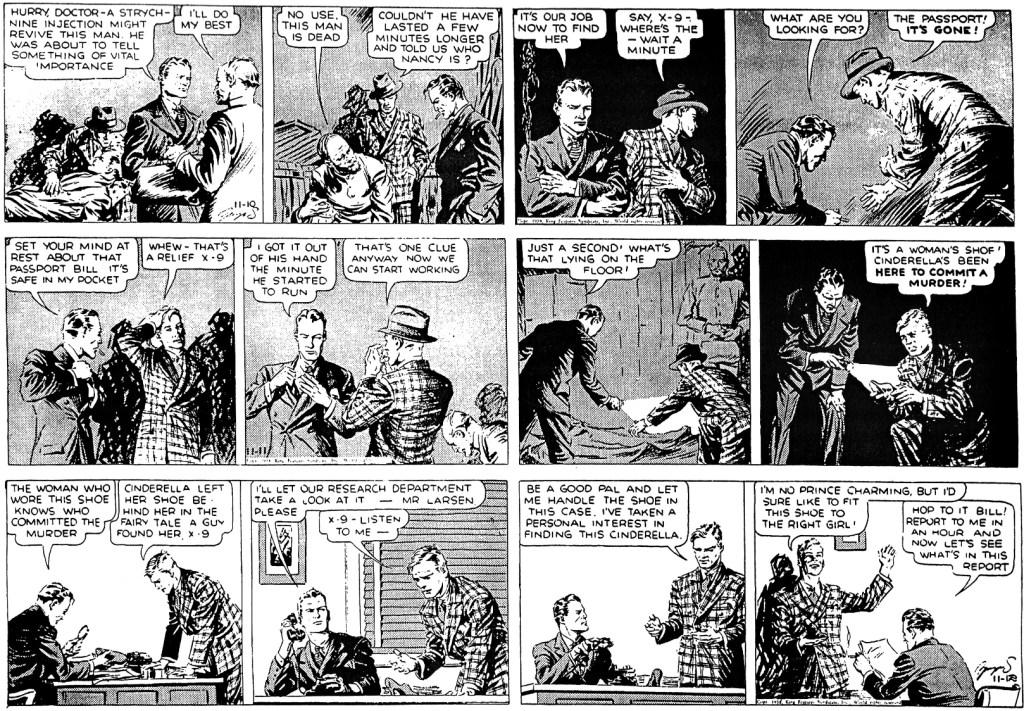 Den fjärde, femte och sjätte dagsstrippen ur episoden The Shoe of Cinderella, från 10-12 november 1938. ©KFS