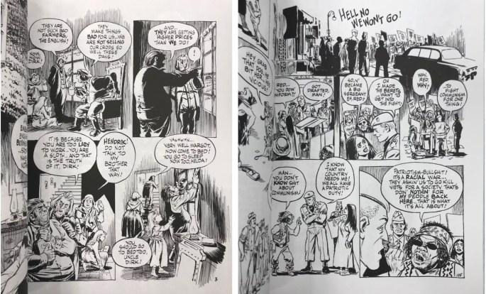 Två sidor ur Dropsie Avenue: The Neighborhood (1995), med flera generationer däremellan. ©Kitchen Sink