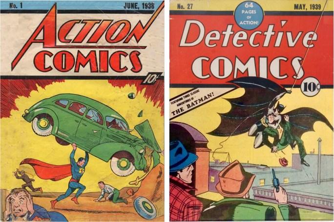 Superman debuterade i Action Comics #1 (1938), och Batman i Detective Comics #27 (1939). ©DC